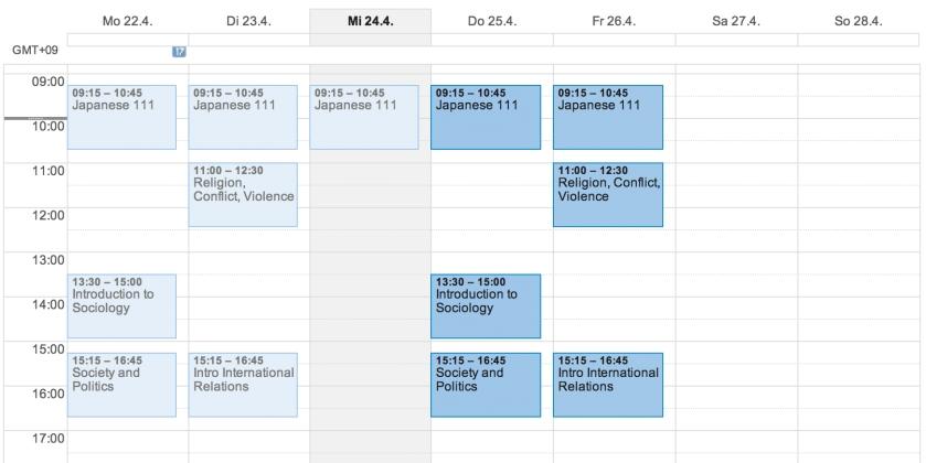 Stundenplan Sophia Universität Spring 2013