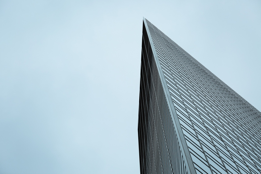 A look up the Dentsu building in Shiodome, Tokyo. Canon 5D Mark III, 135mm f/2.