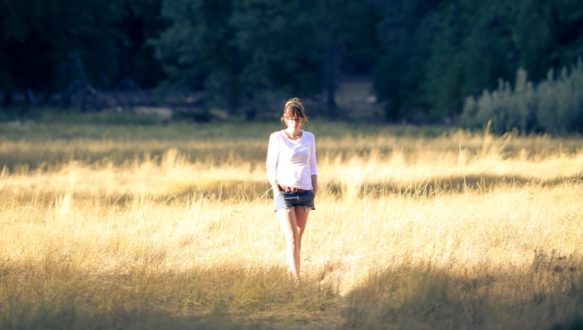 My friend Natalie walking the fields of Yosamite National Park, California, US. October 2014.
